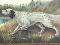 1 Fine Original French School Early 20th Century English Setter Dog Oil Painting