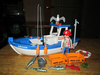 ***PLAYMOBIL 2  FOR 1!!! FISHING BOAT+FRONT LOADER SETS!!!***