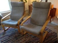 Pair of Poang chairs (Ikea), in light grey.