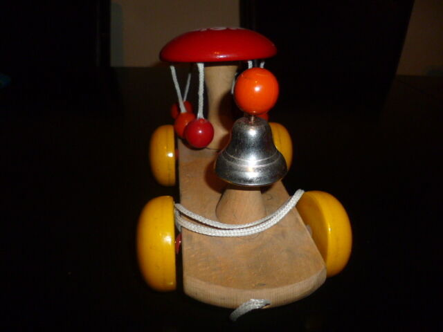 Kouvalias Wooden Toys ~ Unique wooden pull toy greek kouvalias color rotating