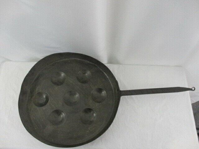 """Antique 16.5"""" Copper Escargot / Egg Poacher Pan"""
