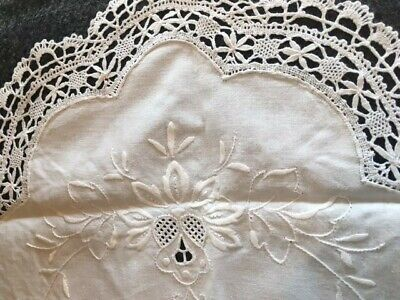 Vintage Belgian Lace, Embroidery Linen Table Runner