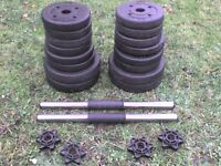 Dumbbell barbell Weights and Bars 52 lb's 23.8 kg approx