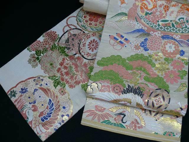 REVERSIBLE Beige & Gold Silk Japanese MARU OBI w/Cranes, Phoenix H798