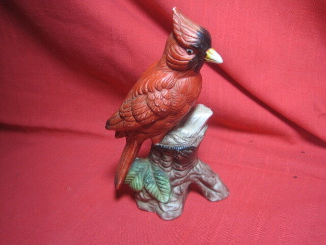 "Vintage Red Cardinal Bird Figurine 7"" x 5"" ceramic bisque?"