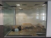 5.61 METRE WIDE ROOM DIVIDING CAVITY GLASS PARTITION WITH 10 GLASS PANELS £475