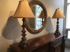 Ethan Allen Valencia Buffet silk shade lamps / antique finish