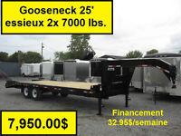 Remorque Gooseneck 25 pieds 14 K Neuf 2015