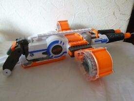 Nerf Rhinofire Fully working with two 25 dart drums no darts