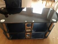 Black and Silver Large Glass & Metal TV Stand