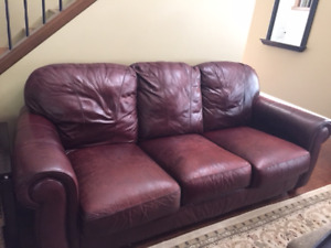 FREE BURGUNDY LEATHER SOFA, CHAIR AND OTTOMAN