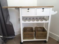 Vintage style kitchen trolley, 2 drawers, wine rack, towel rail, fantastic storage for your kitchen