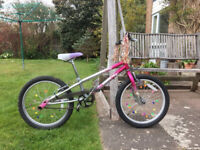 "Mongoose 'Blaze' 8.5"" frame size, with 20"" alloy wheels and good tyres. Plum/silver with stunt pegs"