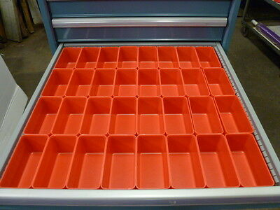 32- 3x6x3 Deep Red Plastic Boxes Fit Lista Vidmar Toolbox Organizers Dividers