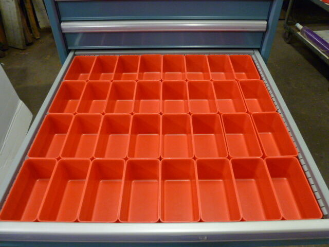 """32- 3""""x6""""x3"""" Red Plastic Boxes for Vertical Lift Storage System Bins Dividers"""