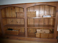 Vintage Heavy Solid Pine Low 5ft Bookcase Storage CD's DVDs Display Furniture Shelving Project