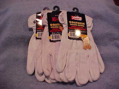 3 Leather Pair Kinco Goatskin White Unlined Drivers Glove New Size Large Style92