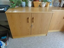 Strong deep wooden side cupboard with double doors and shelf