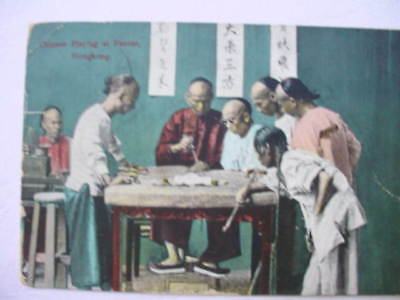 9788 PC Chinese Playing at Fantan Hong Kong 1910 Ak