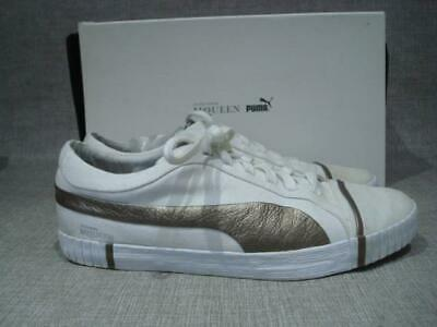 PUMA / ALEXANDER MCQUEEN UK 7 WHITE & GOLD CANVAS STREET SHOES BOXED