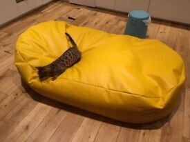 Giant yellow faux leather couch bean bag nearly new