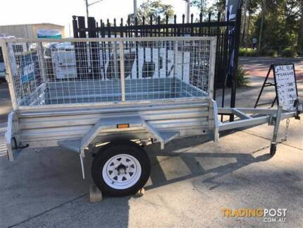 6 x 4 GALVANISED HOT DIPPED SINGLE AXLE BOX TRAILER (NEW) WITH 60