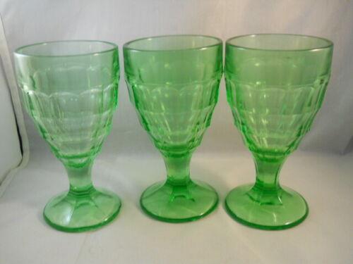 3 VINTAGE GREEN URANIUM DEPRESSION VASELINE GLASS GOBLETS - HAZEL ATLAS COLONIAL