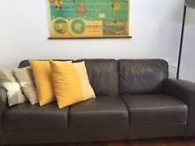 BAY LEATHER 3 SEATER AND 2 SEATER GREY LOUNGE SET Rozelle Leichhardt Area Preview