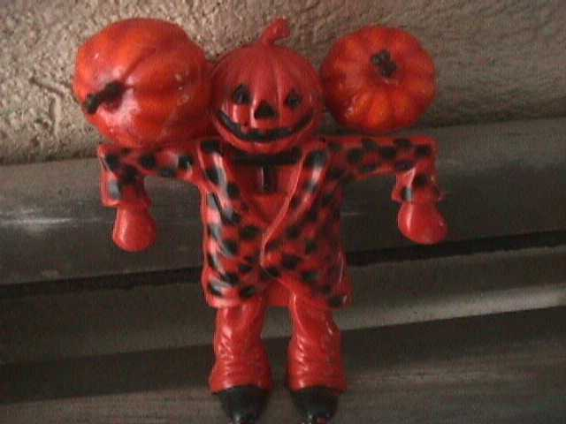 Vintage Rosbro Hard Plastic Checkered Pumpkin Scarecrow Candy Container