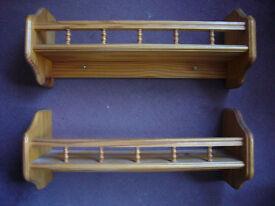 Two pine shelves