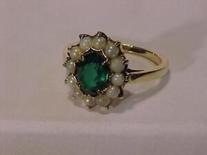 #2901- 10k Y/Gold PEARL/EMERALD COLOURED STONE-Size -6 1/4 1