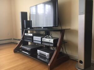 Wood and glass TV stand (back part included)