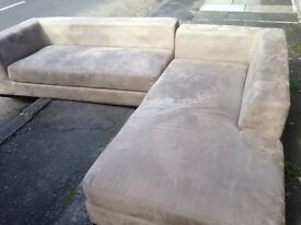 Dwell Double Fabric Suede Corner Sofa Up to 8 Seats.Too Good to Throw Away