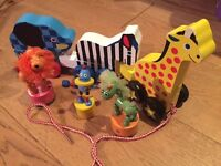 Wooden Animal Toys Bundle - Melissa & Doug Puzzle Animals and Sushi Set plus more