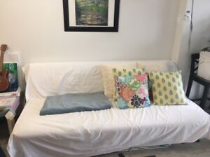 moving sale (futon,  desk, dinning table chairs,   lamp,  shelf)