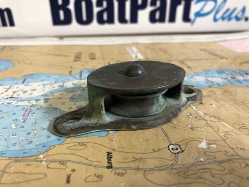 "Vintage Bronze Single Cheek Pulley Block 1 1/2"" Sheave 3/8"" Line Nice Patina"