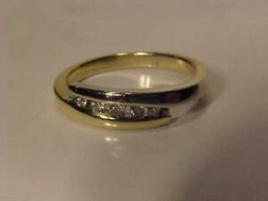#3242-10 KT. Y/W/Gold BAND with 5 nice diamonds-Appraised $1,350.00 Sell $425.00 Appraisal included. free shipping