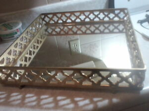 Vanity Tray square Mirror bottom serving tray gold colored
