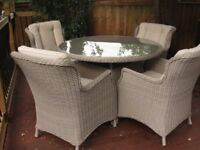 Rattan garden/conservatory/patio dining table and 4 x chairs