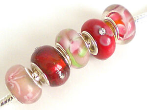 Mix of 5 Fabulous GLASS Charm Beads ~ Choice of 20 + colour ways ~ £2.25 per set