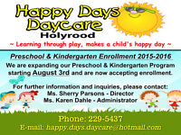 Happy Days Daycare - 2 Pre-School Space available