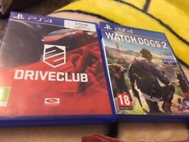 PS4 games - watchdogs 2 and Drive Club