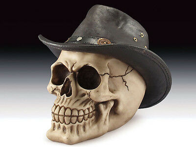 Skull with Cowboy Hat Figurine Statue Skeleton Halloween - Skull With Cowboy Hat
