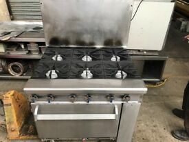 GAS COOKER COMMERCIAL CATERING KITCHEN EQUIPMENT RESTAURANT TAKEAWAY 6 BURNER GAS COOKER CAFE SHOP