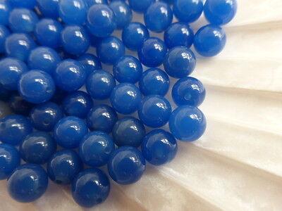 1 Pair x 6mm Half Drilled Blue Onyx Round Beads (2 Beads) Halfdrilled Gemstone