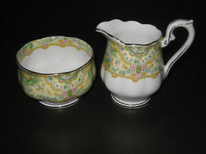 ROYAL ALBERT PAISLEY SHAWL CREAM & SUGAR SET from 1920's