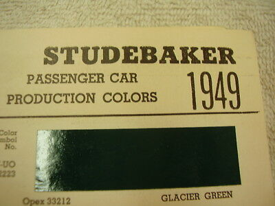 1949  STUDEBAKER PAINT COLOR CHIPS