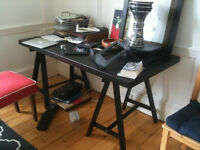 Large IKEA table top on tresles FREE!- pick up only