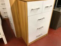 AVAILABLE NOW New black or white New 2+3 drawer high gloss chest of drawers Only £129
