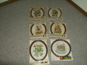 VINTAGE HUMMEL EMBROIDERY KITS lot of 6 COMPLETE WITH FRAMES NIP